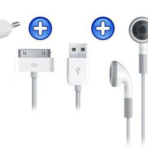iPhone USB Kabel + Adapter + Oordopjes