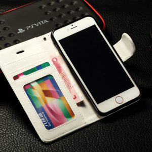 iPhone 6 Plus PU-Lederen Wallet Hoesje Wit.