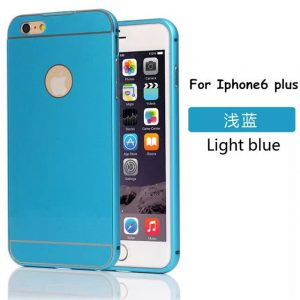 iPhone 6 Plus Acrylic Back Cover met Aluminium Bumper Blauw
