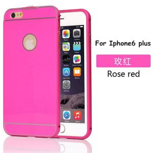 iPhone 6 Plus Acrylic Back Cover met Aluminium Bumper Roze
