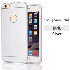 iPhone 6 Plus Acrylic Back Cover met Aluminium Bumper Zilverkleurig