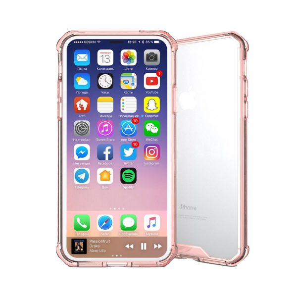 iPhone X Transparant Shock Proof Hoesje Roze